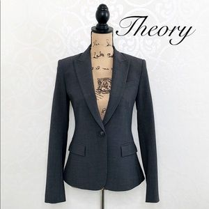 THEORY GREY WOOL BLEND FULLY LINED BLAZER SIZE 4